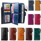 Women RFID Blocking Wallet Large Capacity Wax Genuine Leather Card Holder Clutch image
