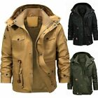 Men Winter Thick Fur Lined Jacket Hooded Outwear Tops Cargo Military Parka Coat