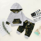 Children Boy Camouflage Printed Hoodie with Pocket Sweatshirt+Pants Outfits Set