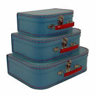 3 Piece Luggage Set Vintage Suitcase Train Case Retro Antique Travel Bag New