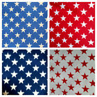 """PATRIOTIC STARS AMERICAN STAR PRINT POLY COTTON FABRIC 60"""" BY THE YARD"""
