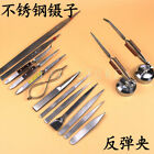 1PC Stainless Steel Tweezer Soldering Clip Bouncing Tweezers Curved Mouth Clip