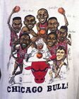 New 80s 90s Chicago Bulls Team Caricature T-Shirt Jordan Pippen Reprint DD1865 image