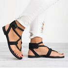 Womens Flat Gladiator Sandals Summer Beach Ankle Strappy Flip Flops Shoes Size