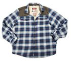 Coleman Flannel Sherpa Blue Red White Plaid Shirt Jacket Large XL Retail $100