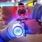 Couple Watches Colorful LED Luminous Kids Watch Soft Silicone Digital Wristwatch image