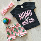 US STOCK Toddler Kids Baby Boy Girl Outfits Clothes T-shirt Tops+Short Pants Set