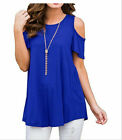 Plus Womens Summer Cold Shoulder Tee Top Short Sleeve Blouse Casual T-Shirt US