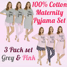Womens Ladies 100 Cotton Maternity Pyjama Set Nightie Tee Shorts  Pants 3 Pack