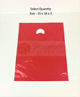 Strong Luxury Plastic Carrier Bags Patch Handle Boutique Gift Shop Retail Red