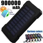 Solar Power Bank 900000mAh Portable External Battery Huge Capacity Charger LED