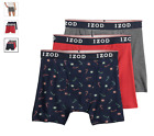 """Men's Izod 3-Pack Cotton Boxer Briefs 6"""" inseam with Fly (Black - Red - Gray)"""