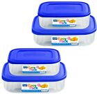 3 Large Plastic Food Storage Containers Box Set Snap Lid Kitchen Tupperware