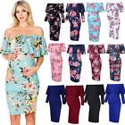 Pregnant Women's Off Shoulder Floral Midi Dress Maternity Gown Photography Prop