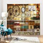 Wooden Wheel Hard Box 3D Curtain Blockout Photo Printing Curtains Drape Fabric