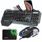 UK Wired LED Backlit Ergonomic Gaming Keyboard and Mouse Set For PS4 PC Laptop