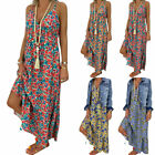 Womens Summer Strappy Boho Floral Maxi Dress Holiday Beach Sundress Plus Size US