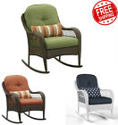 Wicker Rocking Chair Outdoor Furniture Pillow Cushions Garden Steel Metal Frame