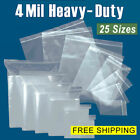 Assorted Clear 4-Mil Zip Lock Bags HEAVY-DUTY Resealable Plastic Zipper Baggies