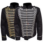 Military Officer Drummer Parade Jacket Gothic Punk Men's Black Gold-Silver - WLC