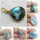 Spectrolite Natural Blue Fire Labradorite Yellow Gold Plated Fancy Shape Pendant