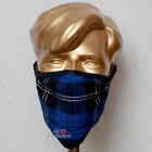 Family Pack of 5Units Dark Ramsay Blue Tartan Mask Breathable Two Layer Washable