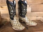 Men's Rodeo Genuine Leather Cowboy Square Toe Boots