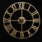 Roman Numerals Wall Clock Home Retro 3D Vintage Metal Hollow Iron Mute Watch