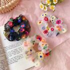 Fashion Women Colorful Hair Rope Embroidery Flower Bands Chiffon Elastic M7g6