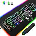 3in1 Wireless Rechargeable LED Gaming Keyboard +Mouse Mice +Big RGB Mousepad US