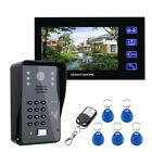 "7"" Video Intercom Doorbell,With Camera RFID Password Wireless Remote Access Card"