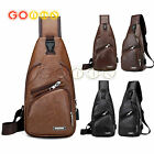 Leather Chest Bag Shoulder Pack Sports Crossbody Handbag With Usb Charging Port