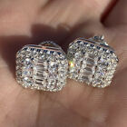 Gorgeous Stud Earrings Women 925 Silver Jewelry White Sapphire A Pair/set