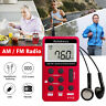 Portable Mini AM FM Radio Digital Pocket Handy LCD Rechargeable with Earphone