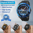 Men Solar Power Sport Dual Time Alarm LED Digital Waterproof Analog Quartz Watch image