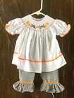 NOLA Smocked Trick or Treat 2 pc Ruffle Pant Set Halloween Fall 6m 9m 18m 2T 3T
