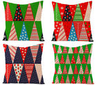 Christmas geometric throw pillow cover, sofa pillowcase, red and green stitching