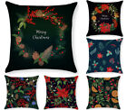 Christmas red print throw pillow covers, green sofa cushion cover wreath 18x18in