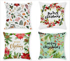 Christmas plant printing throw pillow covers, green sofa pillowcase, 18x18inches