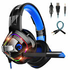 Gaming Headset Mic Surround Headphone LED RGB Light Wired for PS5 PC Xbox One S