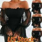 Kyпить US Women Off-shoulder Sexy Tunic Top Mesh Lace Long Sleeve Casual Strench Blouse на еВаy.соm