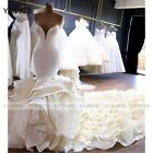 Luxury Mermaid Wedding Dresses Sweetheart Ruffles with Long Train Bridal Wedding