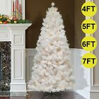 '4/5/6ft/7ft Pre Lit White Christmas Xmas Tree Bushy Pine With 8 Modes Led Lights
