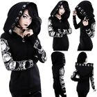 Women Plus Size Hooded Outwear Coat Gothic Steampunk Punk Cosplay Costume Jacket