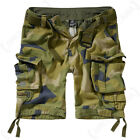 Brandit Savage Cargo Combat Belted Drawstring Shorts - Swedish Camo - All Sizes
