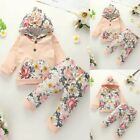 Newborn Kids Baby Long-sleeved Hooded Floral Print Tops Floral Pants Set Clothes
