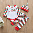 Newborn Kids Baby Christmas Costume Letter Romper Stripe Pants Hat Set Clothes