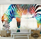 3D Watercolor Zebra B66 Wallpaper Wall Mural Removable Self-adhesive Sticker Zoe