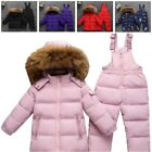 Winter White Duck Down Parka Coat Jacket And Pants Kids Clothing Set Snow Wear