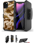 For iPhone 12 ,11,XS Max,XR,8,7 Hybrid Belt Clip Holster Case Urban Sand Camo